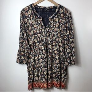 Lucky Brand Blue And Red Bohemian Print Blouse 3X